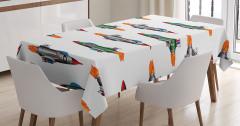 Çocuklar için Masa Örtüsü Renkli Savaş Uçakları