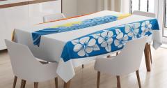 Sörf Tahtası Desenli Masa Örtüsü Rengarenk