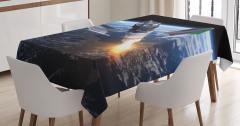 Uzay Yolculuğu Temalı Masa Örtüsü Dünya Kozmos Mavi