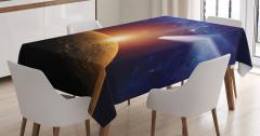 Uzay Temalı Masa Örtüsü Kuyruklu Yıldız Mars Güneş
