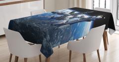 Uzay Temalı Masa Örtüsü Dünya Kozmos Mavi Siyah