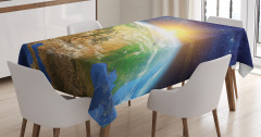 Uzay Temalı Masa Örtüsü Güneş ve Dünya Gün Doğumu