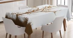 Kahverengi Masa Örtüsü Ağaçta Komik Baykuş Desenli