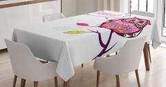 Süslü Baykuş Desenli Masa Örtüsü Rengarenk Şık Trend