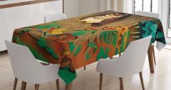 Çocuklar için Masa Örtüsü Ormanda Yaşlı Baykuş Yeşil
