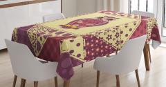 Baykuş Desenli Masa Örtüsü Romantik Çeyizlik Sarı