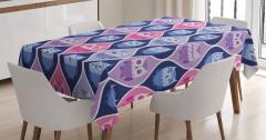 Baykuş Desenli Masa Örtüsü Şık Tasarım Pembe Mavi
