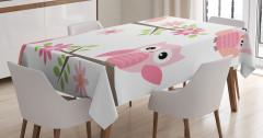 Çocuklar için Masa Örtüsü Pembe Baykuş Desenli Çiçek