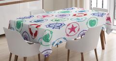 Rengarenk Denizcilik Temalı Masa Örtüsü Beyaz