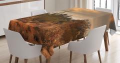 Çölde Gün Batımı Manzaralı Masa Örtüsü Turuncu