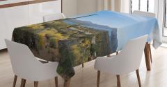 Çöl Manzaralı Masa Örtüsü Kaktüs Mavi Gökyüzü