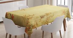 Antik Temalı Masa Örtüsü Bambu Yaprağı Desenli