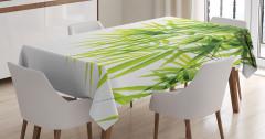 Bambu Yaprağı Desenli Masa Örtüsü Yeşil Beyaz