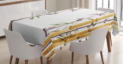 Bambu Desenli Masa Örtüsü Çeyizlik Şık Tasarım