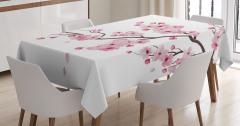Pembe Kiraz Çiçekleri Desenli Masa Örtüsü Şık