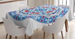Çini Desenli Masa Örtüsü Mavi Şık Tasarım
