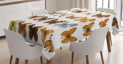 Kelebek Temalı Masa Örtüsü Kahverengi Sarı