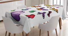 Uçan Kelebek Desenli Masa Örtüsü Çeyizlik Şık