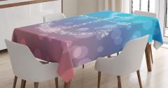 Daire Desenli Masa Örtüsü Çapa Temalı Mavi Şık