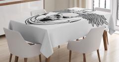 Kuru Kafa Desenli Masa Örtüsü Siyah Beyaz Çapa