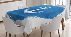 Lacivert Masa Örtüsü Çapa Desenli Beyaz Şık