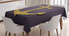 Parlak Çapa Desenli Masa Örtüsü Deniz Sarı