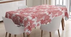 Pembe Masa Örtüsü Çiçek Desenli Romantik Çeyizlik