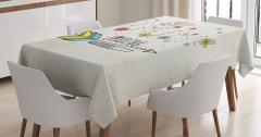 Çiçek ve Kuş Desenli Masa Örtüsü Şık Tasarım