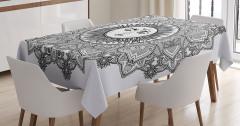 Mandala Desenli Masa Örtüsü Güneş Tanrısı Desenli