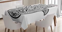 Hamsa Desenli Masa Örtüsü Siyah Beyaz Şık Tasarım