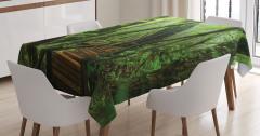 Vahşi Doğa Temalı Masa Örtüsü Orman Yeşil Ağaç