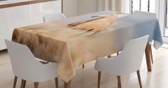 Çölde Koşan  At Desenli Masa Örtüsü Kahverengi Trend
