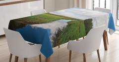 Kır Manzaralı Masa Örtüsü Beyaz Bulut Yeşil