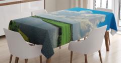 Nehir ve Bulut Manzaralı Masa Örtüsü Şık Mavi