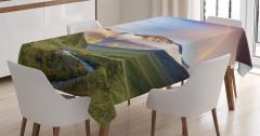 Gökkuşağı Manzaralı Masa Örtüsü Mavi Yeşil