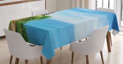 Cennet Tapınağı Temalı Masa Örtüsü Mavi Deniz