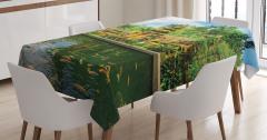Tapınak Manzaralı Masa Örtüsü Yeşil Ağaç Balık