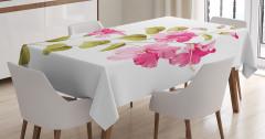 Pembe Çiçek Desenli Masa Örtüsü Çeyizlik Beyaz Trend