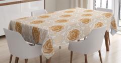 Kahverengi Masa Örtüsü Nostaljik Gül Desenli Beyaz