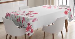 Pembe Çiçek Desenleri Masa Örtüsü Bahar Temalı Beyaz