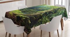 Orman Manzaralı Masa Örtüsü Doğa Temalı Yeşil