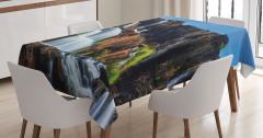 Şelale Manzaralı Masa Örtüsü Gökyüzü Mavi