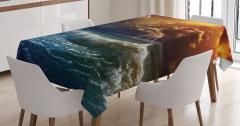 Gün Batımı Temalı Masa Örtüsü Turuncu Lacivert Deniz