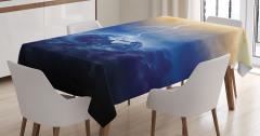 Dünya ve Yağmur Temalı Masa Örtüsü Lacivert Gökyüzü