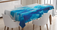 Girdap Temalı Masa Örtüsü Mavi Beyaz Şık Tasarım