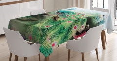 Tavus Kuşu Desenli Masa Örtüsü Yeşil Turkuaz Şık