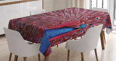 Tavus Kuşu Desenli Masa Örtüsü Kırmızı Lacivert Doğa