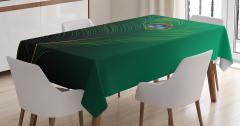 Kuş Tüyü Desenli Masa Örtüsü Yeşil Mavi Şık Tasarım