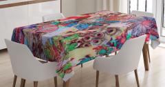Tavus Kuşu Desenli Masa Örtüsü Rengarenk Şık Tasarım