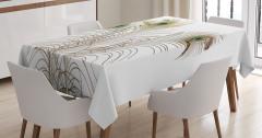 Kuş Tüyü Desenli Masa Örtüsü Kahverengi Beyaz Şık